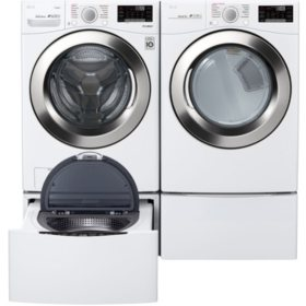 LG WM3700HWA, DLGX3701W, WD100CW, WDP4W - Ultra Large Capacity Front Load Washer and GAS Dryer Suite with SideKick Washer and Pedestal - White