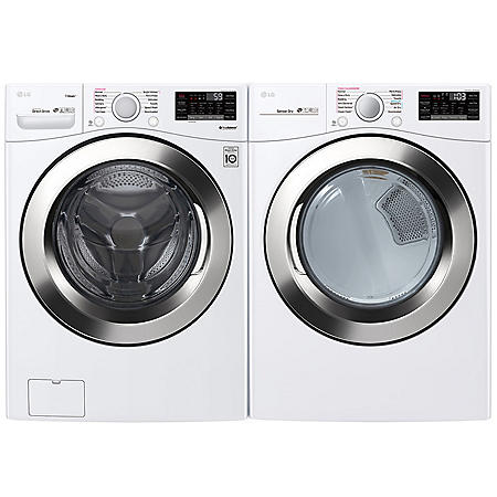 LG - WM3700HWA and DLEX3700W - Ultra Large Capacity Front Load Washer and Steam Dryer Suite - White
