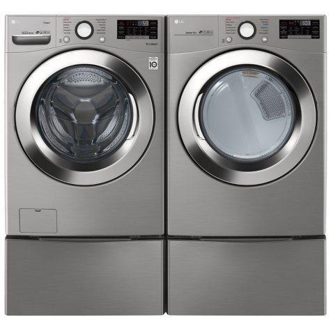 LG - WM3700HVA, DLEX3700V, and two WDP4V - Ultra Large Capacity Front Load Washer and Dryer Suite with SideKick Washer and Pedestal - Graphite