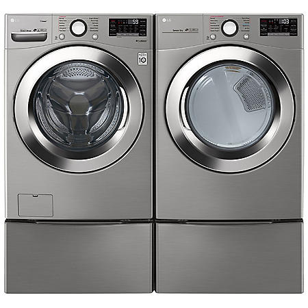 LG - WM3700HVA, DLGX3701V and two WDP4V - Ultra Large Capacity Front Load Washer and Dryer Suite with SideKick Washer and Pedestal - Graphite