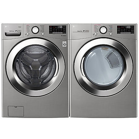 LG - WM3700HVA and DLEX3700V - Ultra Large Capacity Front Load Washer and Steam Dryer Suite - Graphite
