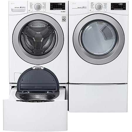 LG - WM3500CW, DLG3501W / DLE3500W, WD100CW, WD4PW - Large Capacity Front Load Washer and Dryer Suite with SideKick Washer and Pedestal - White (CHOOSE: Fuel Type)