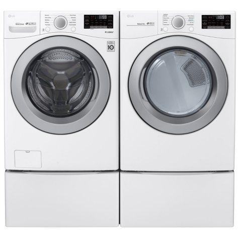 LG - WM3500CW, DLG3501W, and two WD4PW - Large Capacity Front Load Washer and GAS Dryer Suite with Storage Pedestals - White