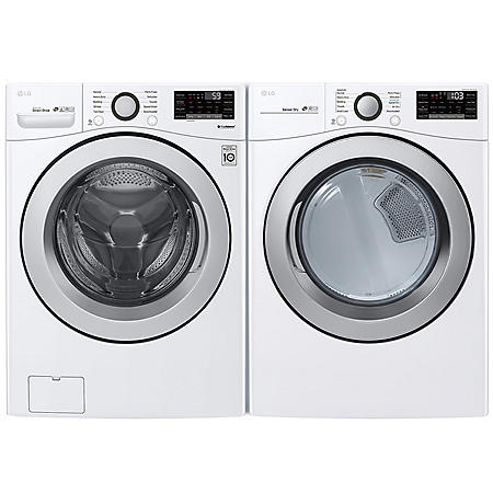 LG - WM3500CW and DLG3501W - Large Capacity Front Load Washer and GAS Dryer Suite - White