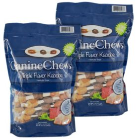 Canine Chews All Natural Triple Flavor Kabob Dog Chews with Real Chicken, Beef and Pork (76 ct.)