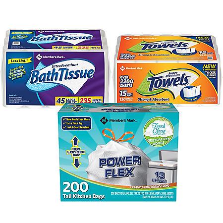 Member's Mark Premium Paper Towel, Bath Tissue and Power Flex Tall Kitchen, Fresh Clean