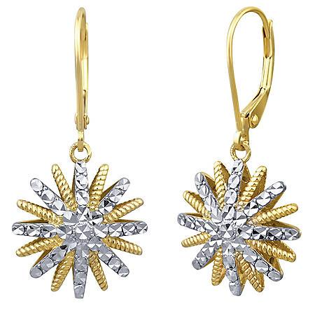 Diamond Cut Star Earrings in 14k Two-Tone Gold