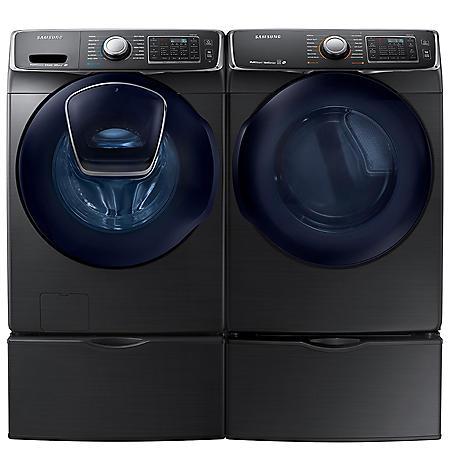 SAMSUNG AddWash Front Load Washer and Electric Dryer with Pedestals - Black Stainless Steel - WF45K6500AV, DV45K6500EV, WE357A0V