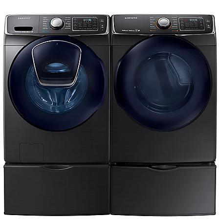 SAMSUNG AddWash Front Load Washer and Gas Dryer with Pedestals - Black Stainless Steel - WF45K6500AV, DV45K6500GV, WE357A0V