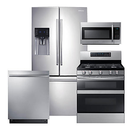 SAMSUNG 3-Door Refrigerator, Flex Duo™ Gas Range, Microwave, and Dishwasher Package - Stainless Steel - RF263BEAESR, ME18H704SFS, NX58M6850SS, DW80K7050US