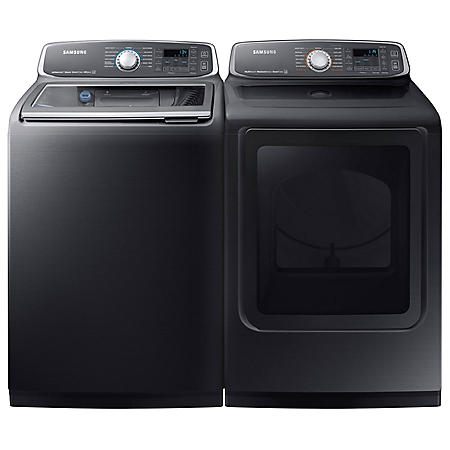 SAMSUNG Activewash Top Load Washer and Gas Dryer - Black Stainless Steel - WA52M7750AV, DVG52M7750V
