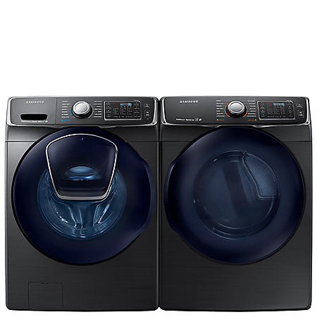 SAMSUNG AddWash Front Load Washer and Gas Dryer - Black Stainless Steel - WF45K6500AV, DV45K6500GV