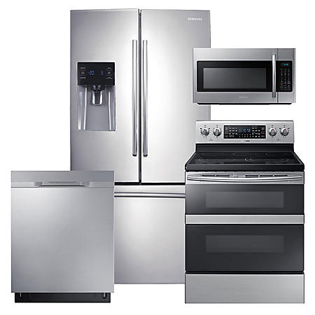 SAMSUNG 3-Door Refrigerator, Flex Duo™ Electric Range, Microwave, and Dishwasher Package - Stainless Steel - RF263BEAESR, ME18H704SFS, NE59M6850SS, DW80K5050US