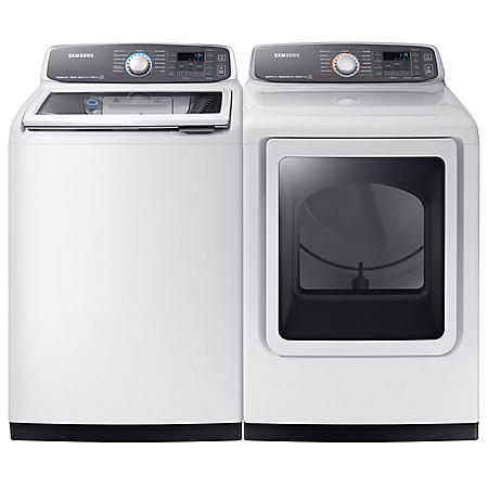 SAMSUNG Activewash Top Load Washer and Electric Dryer - White - WA52M7750AW, DVE52M7750W