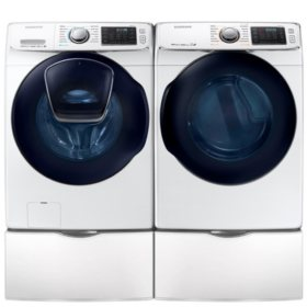 SAMSUNG AddWash Front Load Washer and Electric Dryer with Pedestals - White - WF45K6500AW, DV45K6500EW, WE357A8W