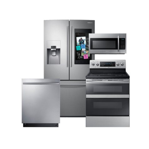 SAMSUNG Family Hub ™ Refrigerator, Flex Duo™ Electric Range, Microwave, and Dishwasher Package - Stainless Steel - RF265BEAESR, ME18H704SFS, NE59M6850SS, DW80K7050US