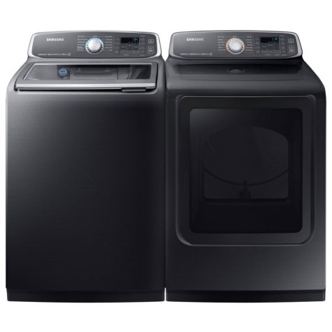 SAMSUNG Activewash Top Load Washer and Electric Dryer - Black Stainless Steel - WA52M7750AV, DVE52M7750V