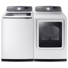 SAMSUNG Activewash Top Load Washer and Gas Dryer - White - WA52M7750AW, DVG52M7750W