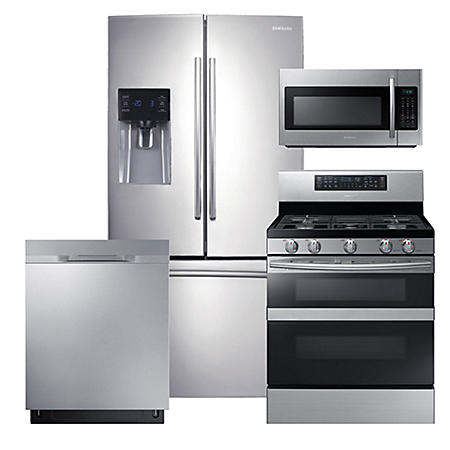 SAMSUNG 3-Door Refrigerator, Flex Duo™ Gas Range, Microwave, and Dishwasher Package - Stainless Steel - RF263BEAESR, ME18H704SFS, NX58M6850SS, DW80K5050US
