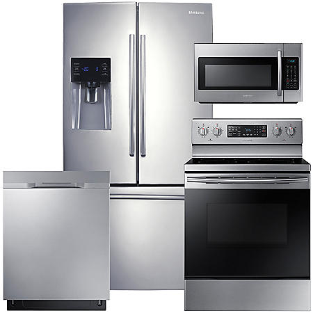 SAMSUNG French Door Refrigerator, Electric Range, Microwave, and Dishwasher Package - Stainless Steel - RF263BEAESR, ME18H704SFS, NE59M4320SS, DW80K5050US