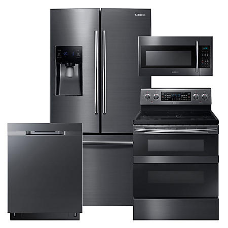 SAMSUNG 3-Door Refrigerator, Flex Duo™ Electric Range, Microwave, and Dishwasher Package - Black Stainless Steel - RF263BEAESG, ME18H704SFG, NE59M6850SG, DW80K5050UG
