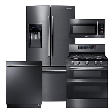 SAMSUNG 3-Door Refrigerator, Flex Duo™ Gas Range, Microwave, and Dishwasher Package - Black Stainless Steel - RF263BEAESG, ME18H704SFG, NX58M6850SG, DW80K7050UG