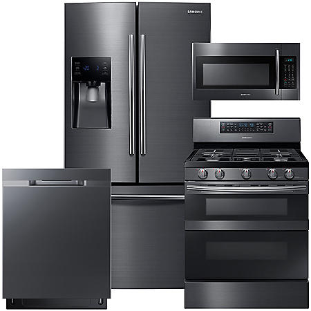 SAMSUNG 3-Door Refrigerator, Flex Duo™ Gas Range, Microwave, and Dishwasher Package - Black Stainless Steel - RF263BEAESG, ME18H704SFG, NX58M6850SG, DW80K5050UG