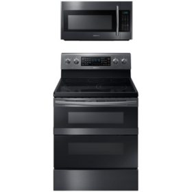 SAMSUNG Flex Duo™ Electric Range and  Microwave Package - Black Stainless Steel - ME18H704SFG, NE59M6850SG