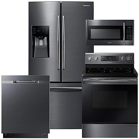 SAMSUNG 3-Door Refrigerator, Electric Range, Microwave, and Dishwasher Package - Black Stainless Steel - RF263BEAESG, ME18H704SFG, NE59M4320SG, DW80K5050UG