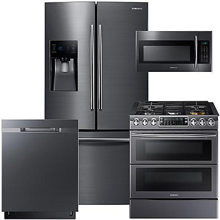 SAMSUNG 3-Door Refrigerator, Slide-In Gas Flex Duo Range, Microwave, and Dishwasher Package - Black Stainless Steel - RF263BEAESG, ME18H704SFG, NX58K9850SS, DW80K5050UG