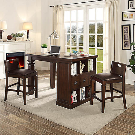 Bedford Project Table With Two Matching Barstools