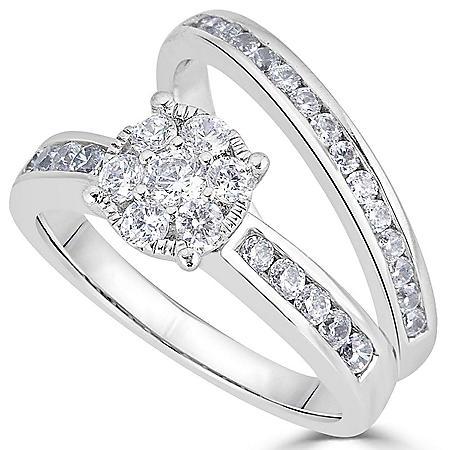 1.00 CT. T.W. Diamond Bridal Set in 14K White Gold (HI, I1)