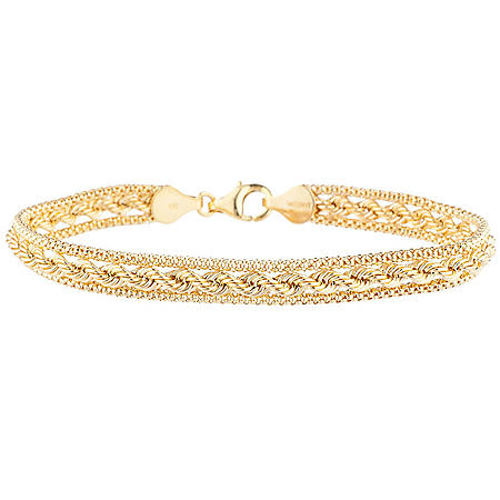 Popcorn and Rope Bracelet in 14K Yellow Gold