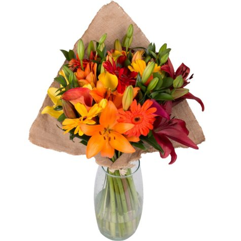 Fall Explosion Bouquet with Burlap