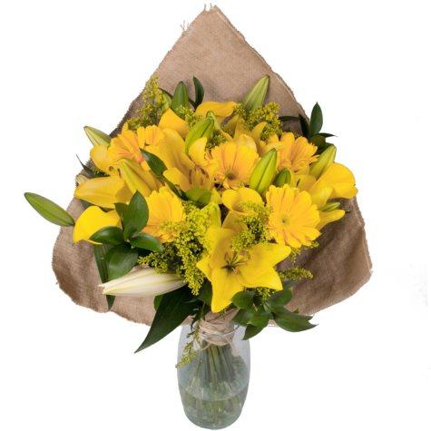 Golden Bloom Bouquet with Burlap
