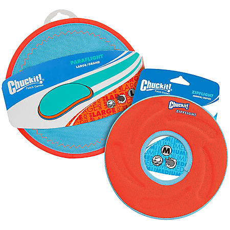 Chuckit! Paraflight Large and Zipflight Medium Dog Toy Bundle