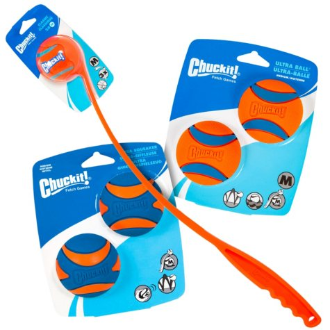 Chuckit! Ball Launcher Classic 26M + Ultra Ball, Medium (2 pk) and Ultra Squeaker, Medium (2 pk.) Dog Toy Bundle