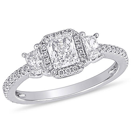 Allura 1 CT Radiant, Trapezoid and Round-Cut Diamond Cluster Engagement Ring in 14k White Gold