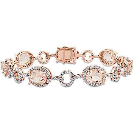 Allura 1.54 CT Diamond and 11.75 CT Morganite Geometric Station Bracelet in 14k Rose Gold, 7""