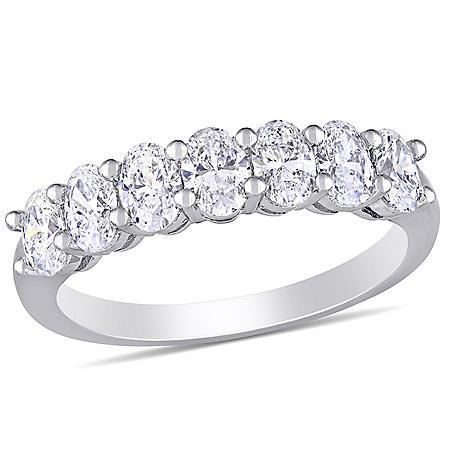Allura 1.33 CT. T.W. Oval Diamond Semi-Eternity Ring in 14k White Gold