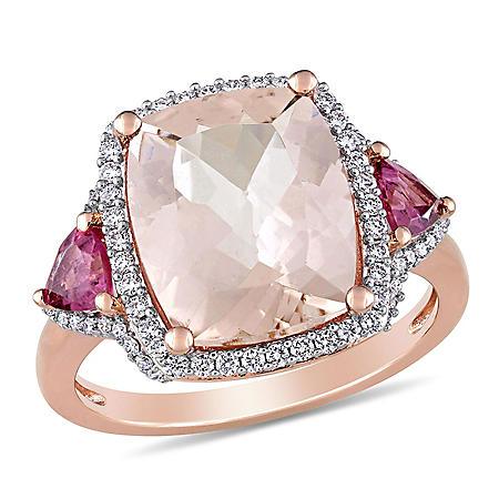 Allura 4.94 CT Morganite, Pink Tourmaline and 0.33 CT Diamond Three-Stone Halo Cocktail Ring in 14k Rose Gold