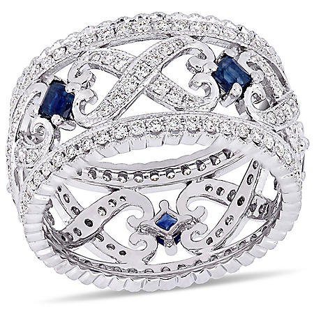"""Allura 0.63 CT Sapphire and 0.88 CT Diamond """"X"""" and """"O"""" Vintage Wedding Band in 14k White Gold"""
