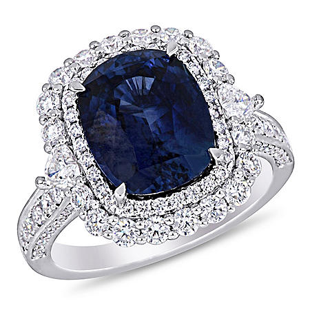 Allura 6.23 CT Sapphire and 1.43 CT Diamond Halo Ring in 14k White Gold