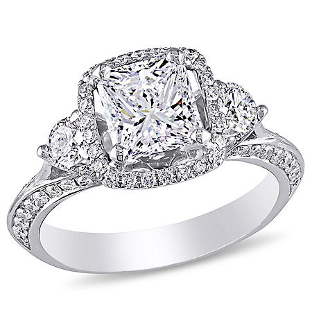 Allura 1.75 CT. T.W. Radiant and Round Diamond Halo Vintage Engagement Ring in 18K White Gold