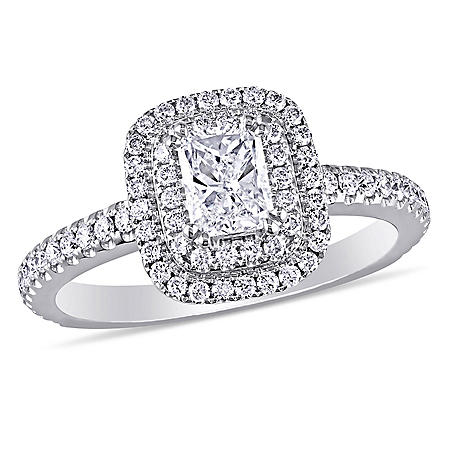 Allura 1 CT. T.W. Radiant and Round Double Halo Engagement Ring in 14K White Gold