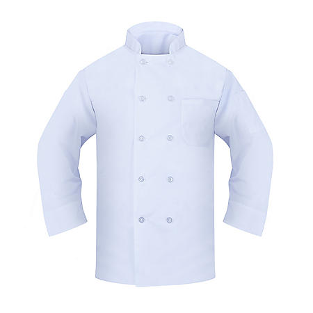 Chef Coat with Long Sleeve, 2 Pockets (1 Thermoter, 1 Chest), Pearl Button in White (2 Pack) - Choose your size