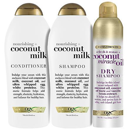 OGX Nourishing + Coconut Milk Shampoo, Conditioner and Dry Shampoo