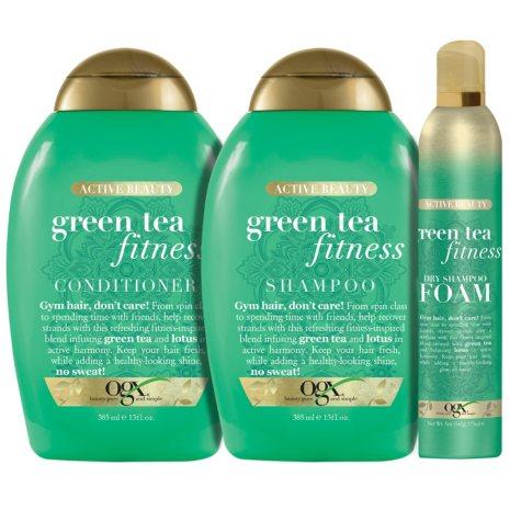 OGX Active Beauty + Green Tea Fitness Shampoo, Conditioner and Dry Shampoo Foam Bundle