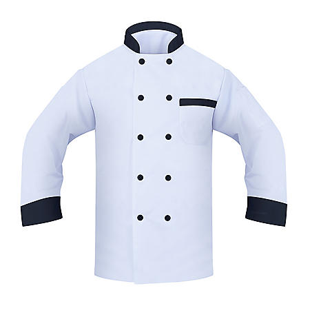 Chef Coat with Long Sleeve, 2 Pockets (1 Thermoter, 1 Chest), White with Black Collar, Cuffs, and buttons (2 Pack) - Choose a size
