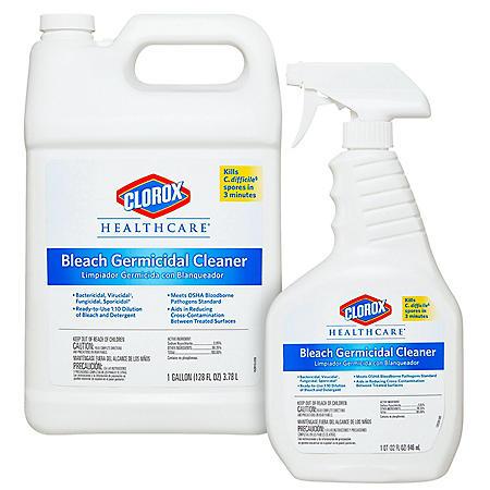 Clorox Healthcare Bleach Germicidal Cleaner (32 oz. Spray Bottle with 1 Gallon Refill)